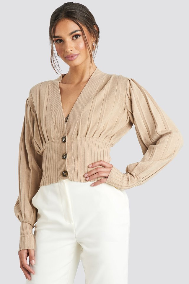 Beige Short Ribbed Cardigan