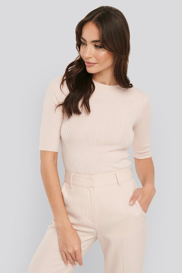 Ribbed Short Sleeved Top Light Pink