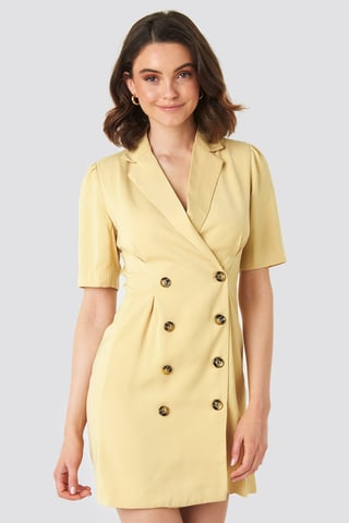 Light Yellow Short Sleeve Blazer Dress