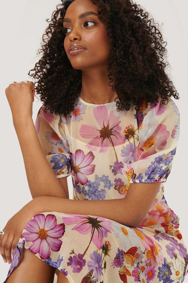 Short Sleeve Chiffon Dress NA-KD