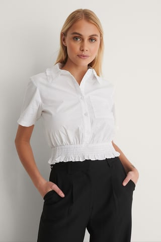 White Short Sleeve Frill Shirt