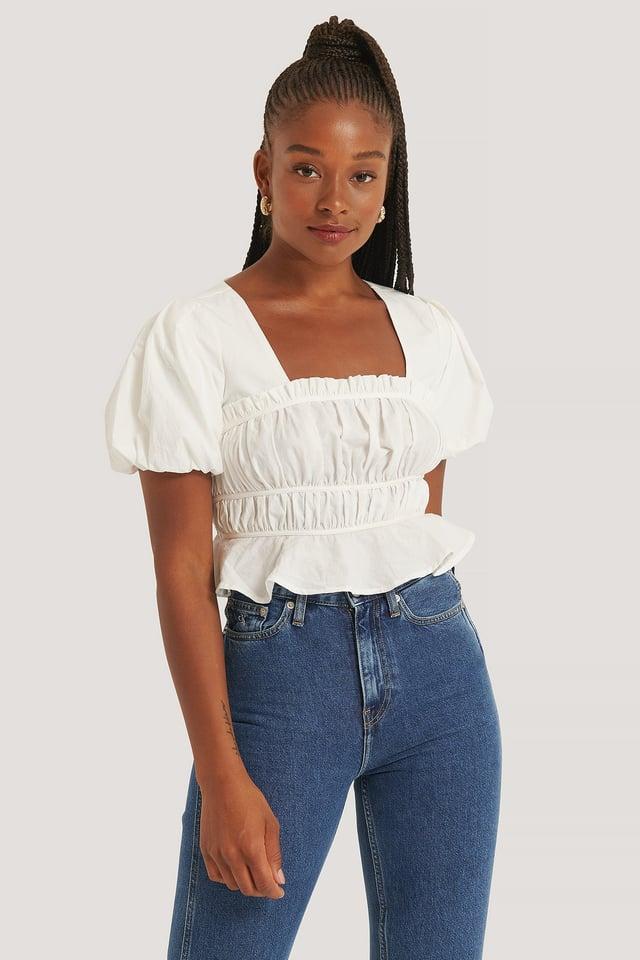 White Short Sleeve Gathered Blouse