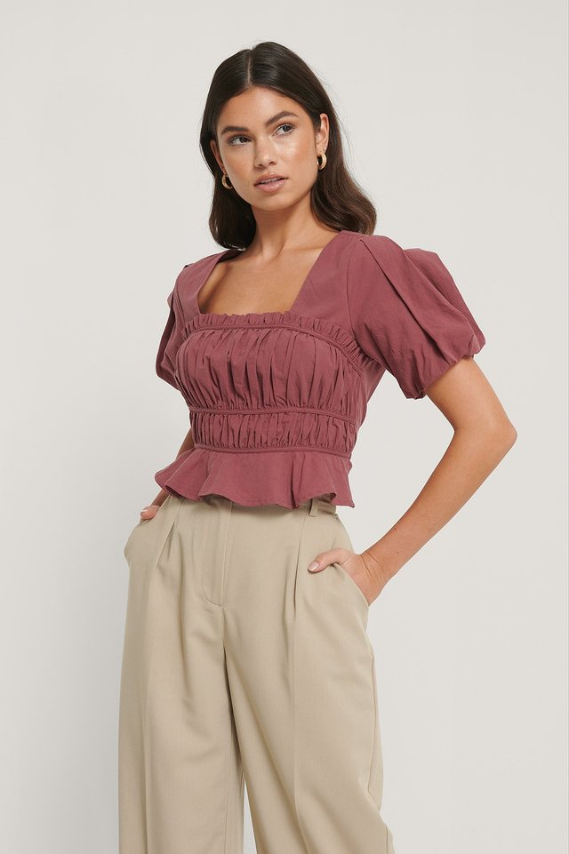 Short Sleeve Gathered Blouse Burgundy