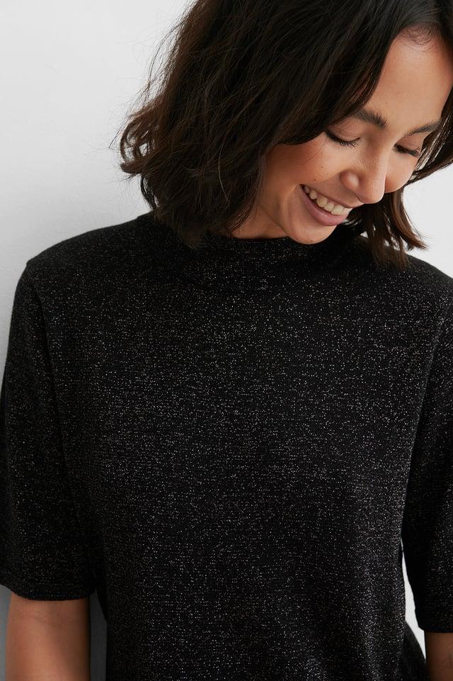 Black Short Sleeve Glitter Knitted Sweater