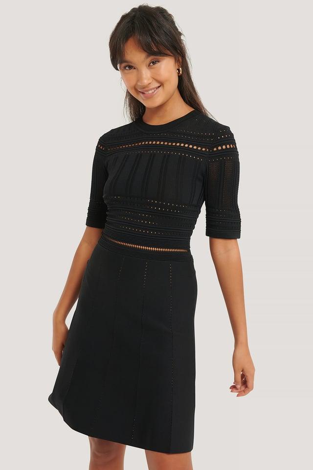 Black Short Sleeve Knitted Midi Dress