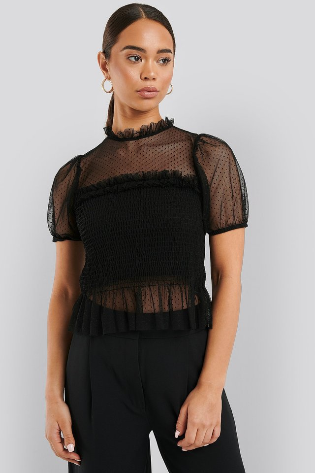 Short Sleeve Lace Blouse Black