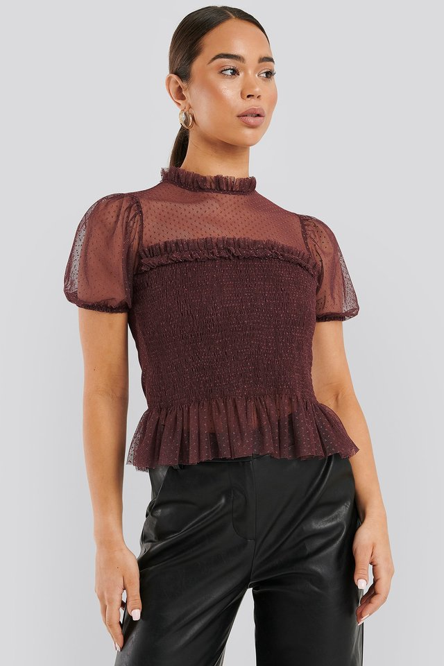 Short Sleeve Lace Blouse Burgundy