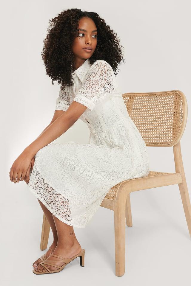 Short Sleeve Lace Dress White