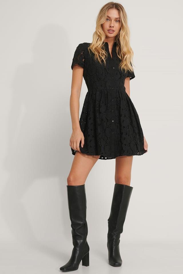 Short Sleeve Lace Mini Dress Black