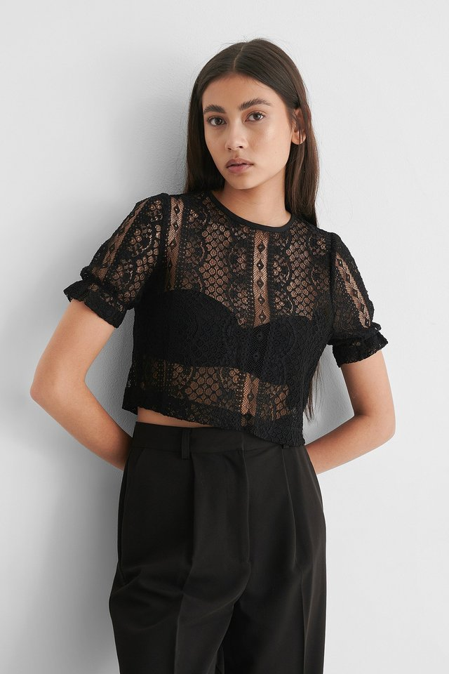 Short Sleeve Lace Top Black
