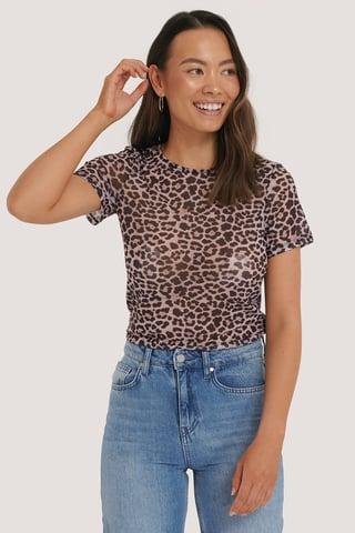 Leopard Mesh Top Met Lange Mouwen