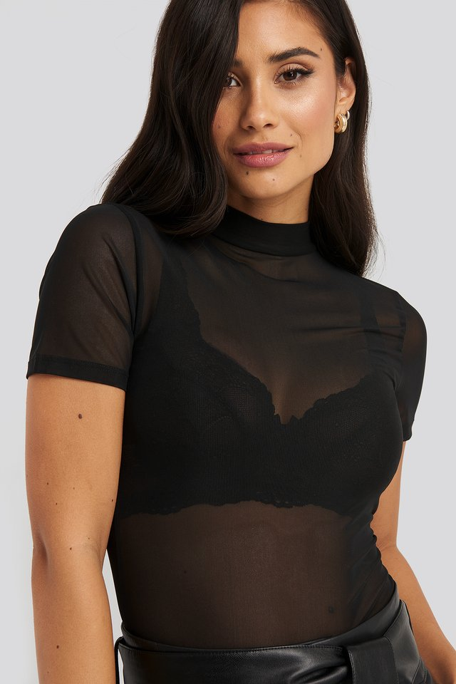 Short Sleeve Mesh Top Black