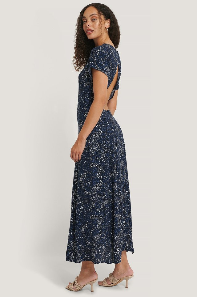 Navy Flower Short Sleeve Open Back Dress