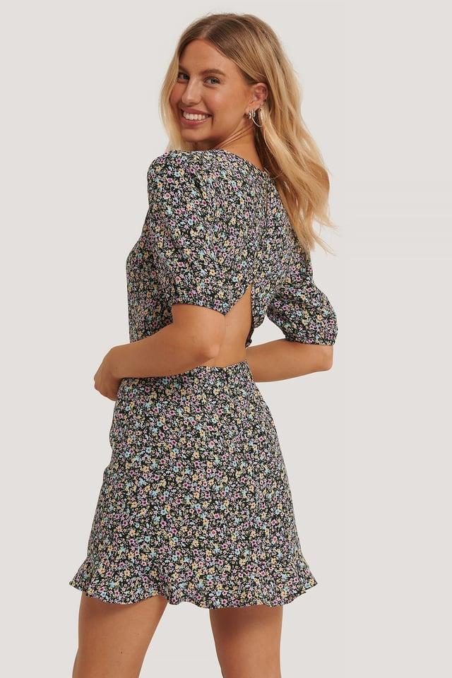 Short Sleeve Open Back Mini Dress Multi Floral Print