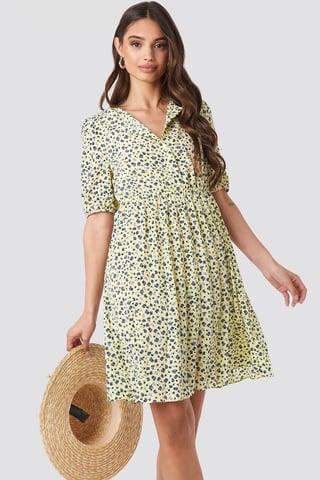 Flower Light Yellow Print Short Sleeve Pleated Skirt Dress