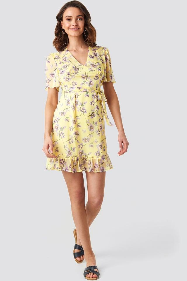 Short Sleeve Print Chiffon Dress Yellow Flower