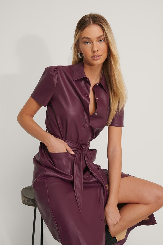 Burgundy Short Sleeve PU Shirt Dress