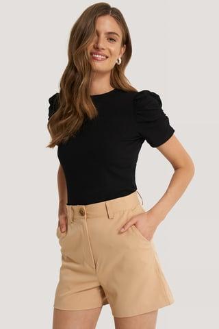 Black Short Sleeve Rib Top