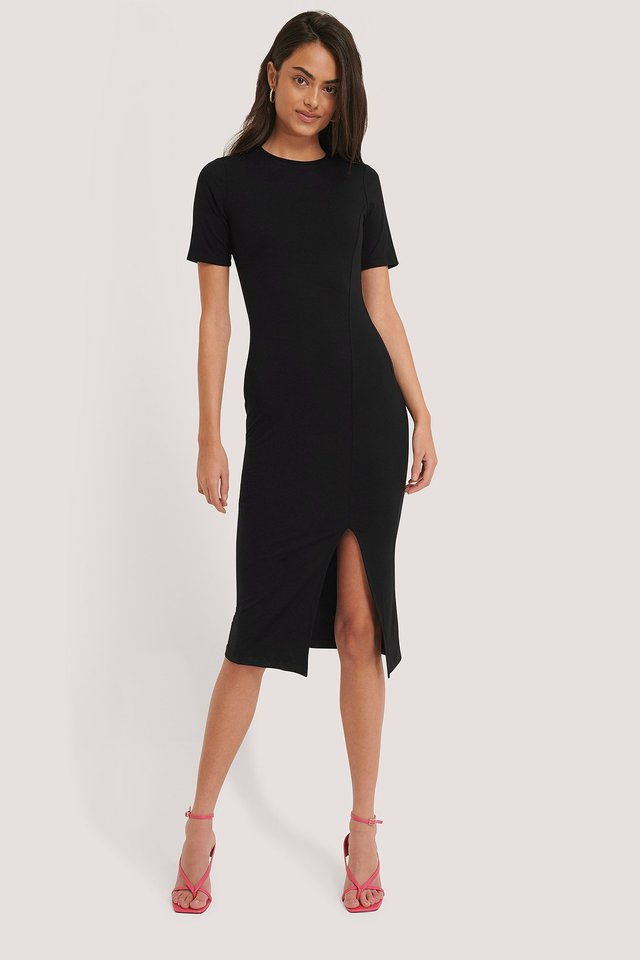 Short Sleeve Slit Dress Black
