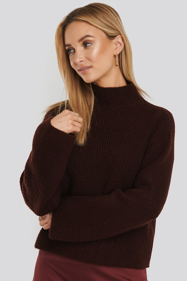 Short Wide Sleeve Knitted Polo Burgundy