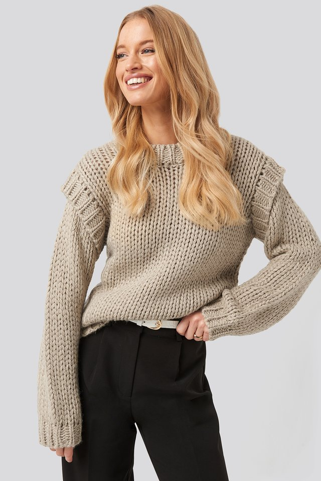 Wool Blend Shoulder Detail Knitted Sweater Beige