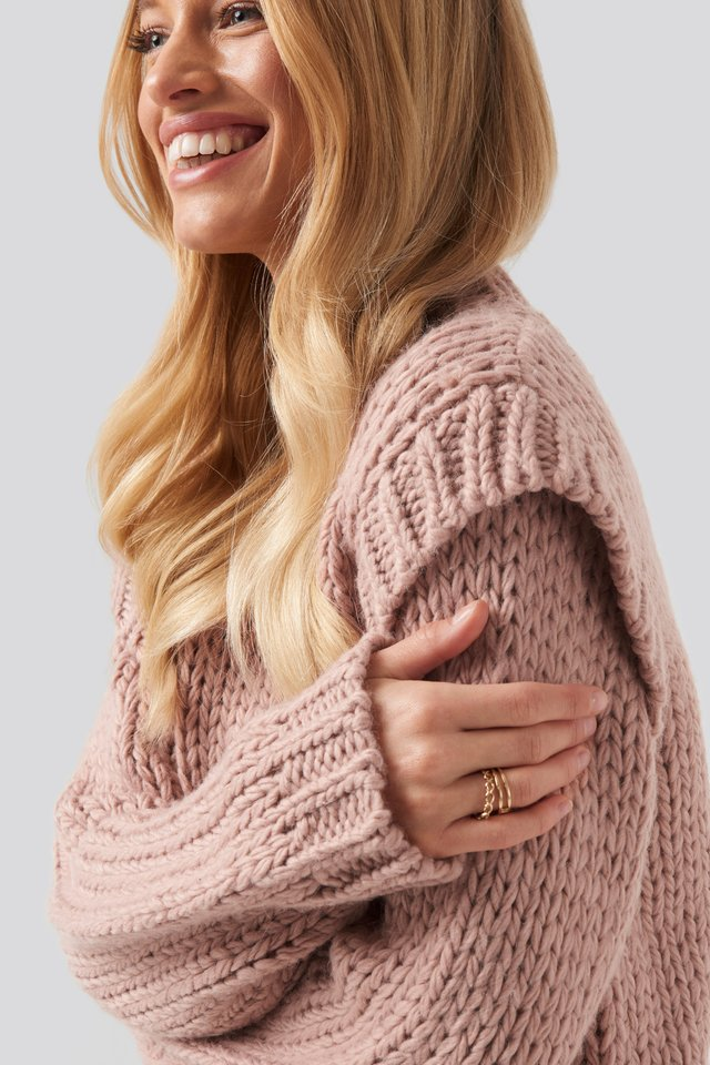 Wool Blend Shoulder Detail Knitted Sweater Misty Rose