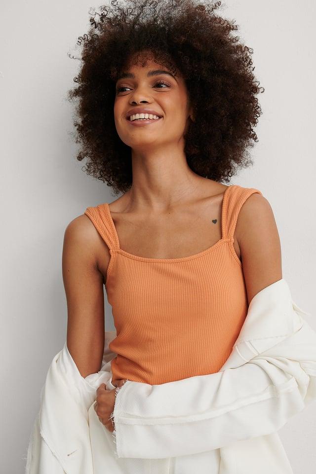 Orange Shoulder Detail Ribbed Top