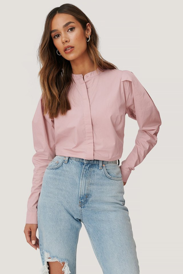 Pink Shoulder Detailed Blouse