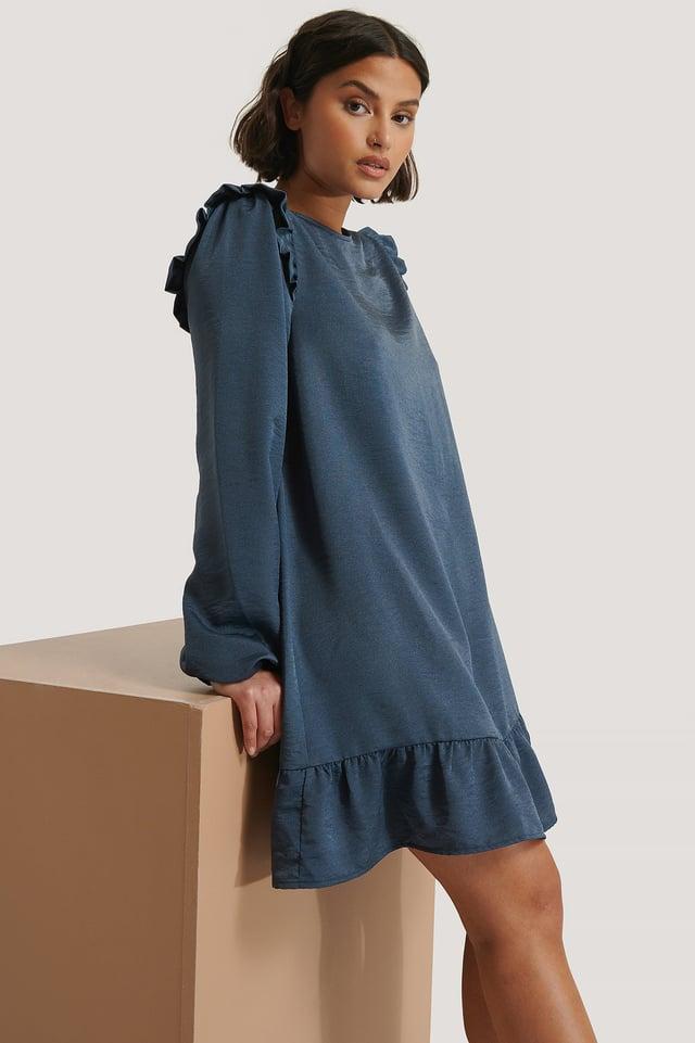 Blue Night Vestido Mini Con Detalle De Volantes