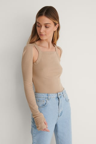 Taupe Beige Shoulder Open Detail Rib Top