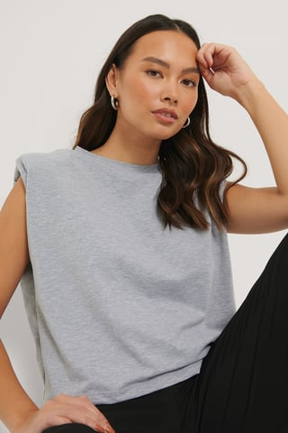 Light Grey Melange Shoulder Pad Detail Top