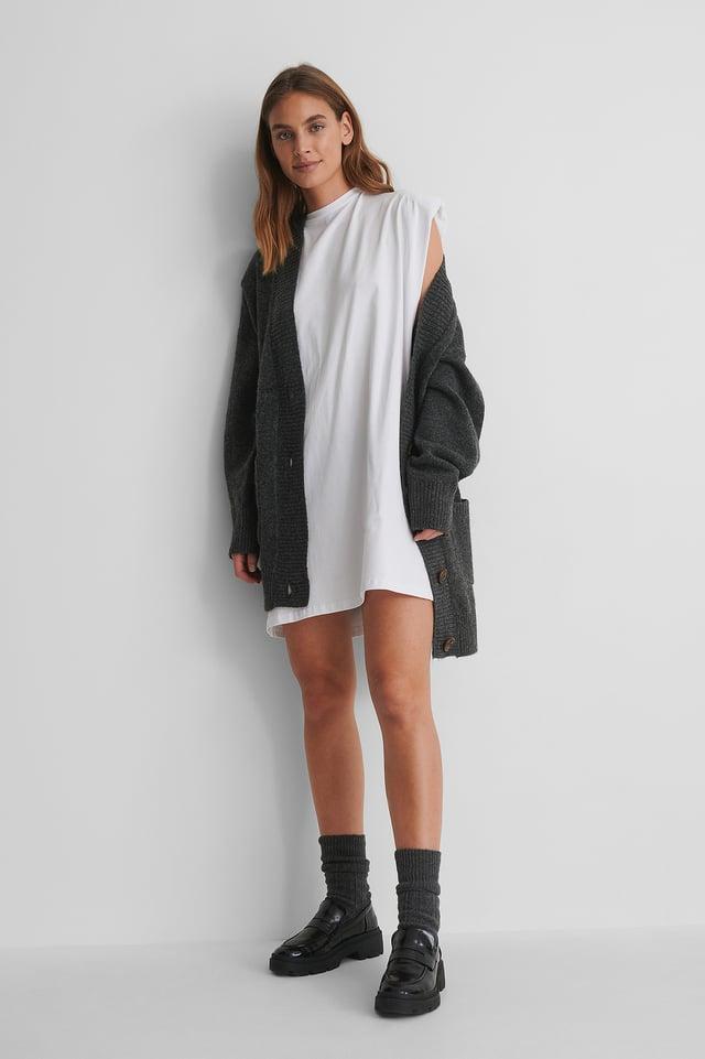 White Shoulder Pad Mini Dress