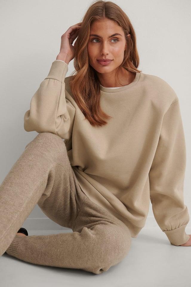 Beige Organisch Sweatshirt