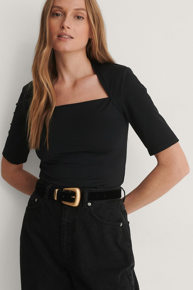 Black Shoulder Pad Top