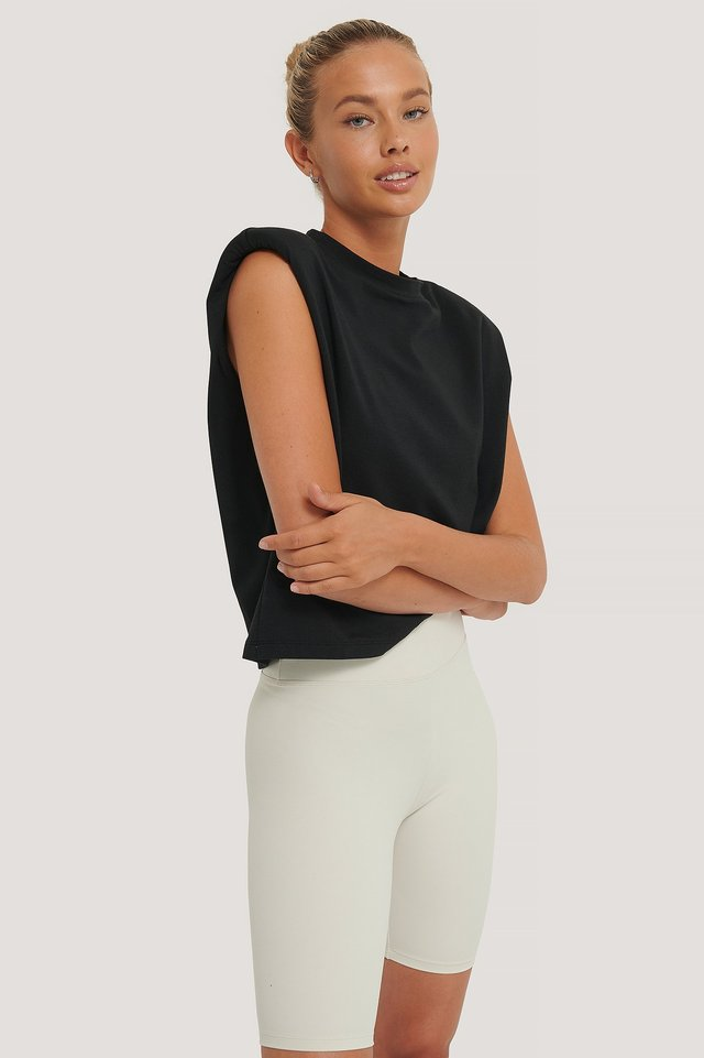 Black Organic Shoulder Pad Top