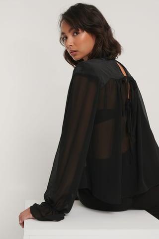 Black Blusa De Gasa Con Hombro Acolchado