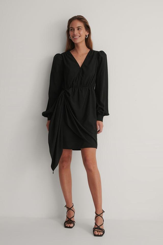 Black Shoulder Padded V-Neck Dress