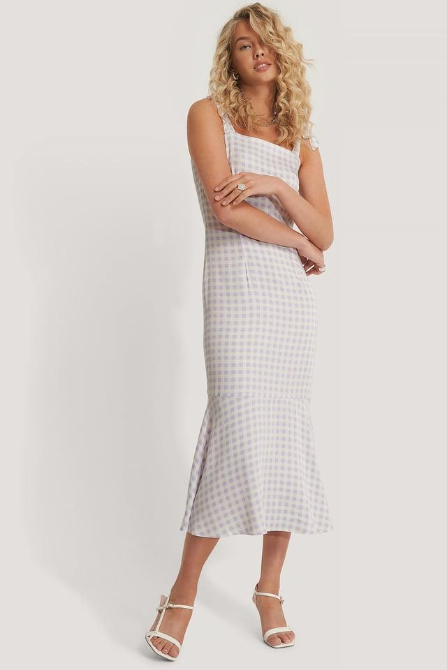 Shoulder Straps Midi Dress Pastel Gingham