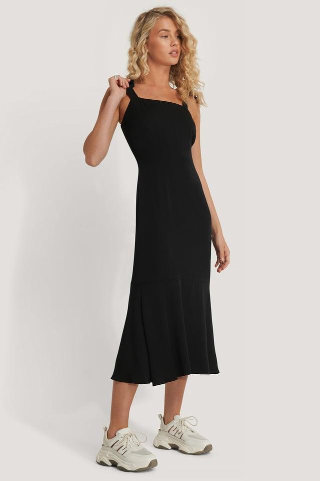 Shoulder Straps Midi Dress Black