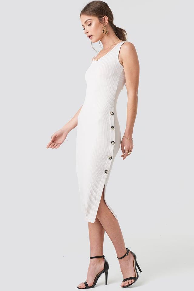 Side Button Ribbed Dress Light Beige