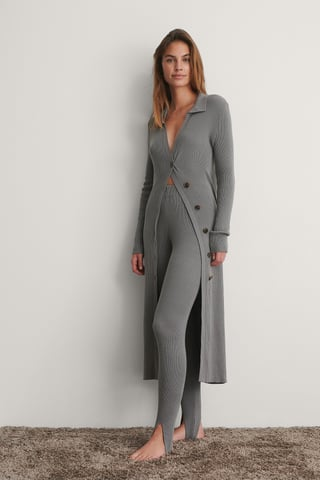 Grey Side Buttoned Long Knit