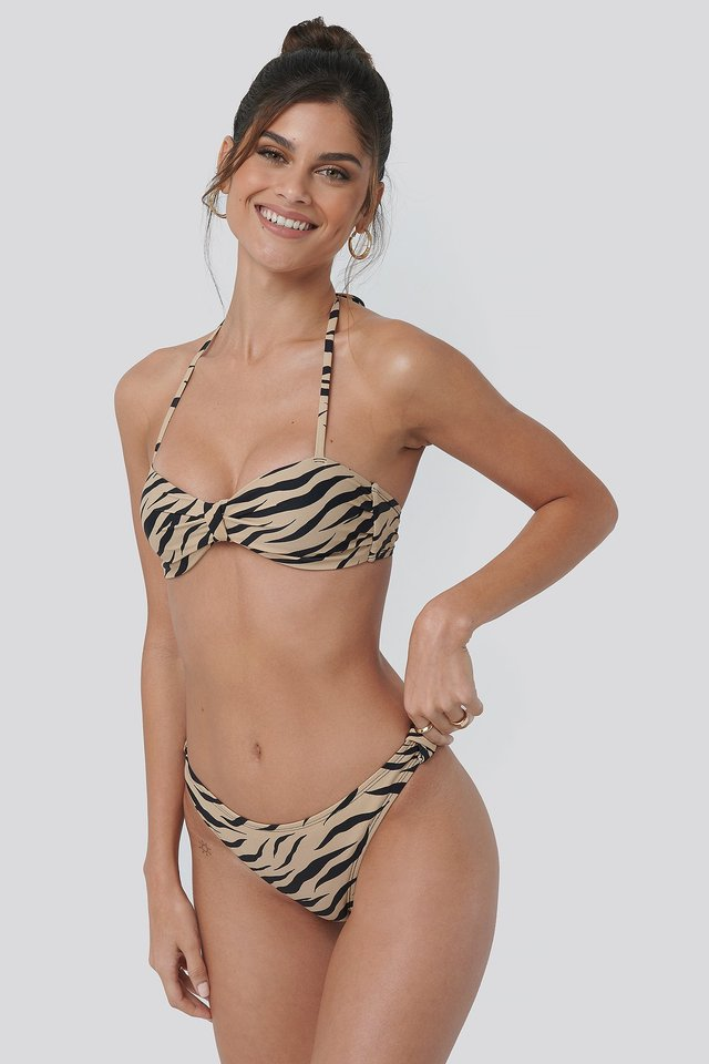Side Knot High Cut Bikini Zebra