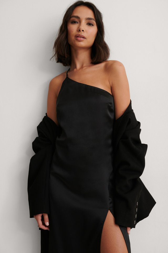 Black Side Slit Asymmetric Satin Dress