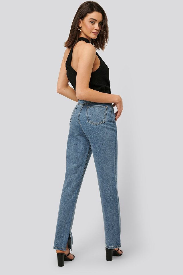 Side Slit Denim Mid Blue