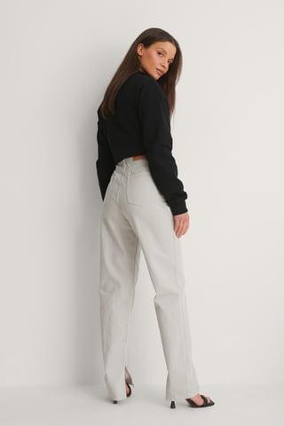 Light Grey Ekologiska Jeans Med Slits I Sidan