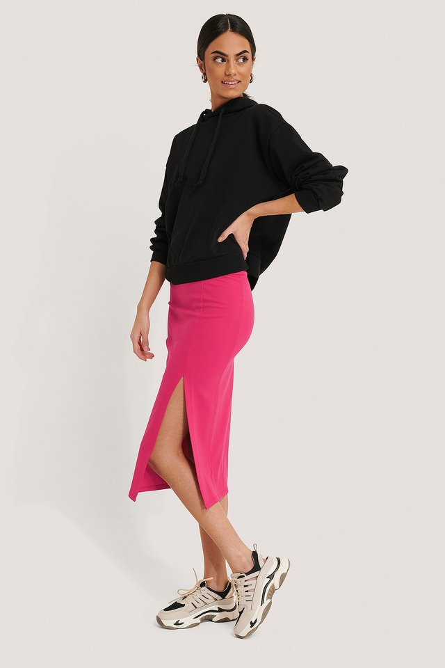 Side Slit Jersey Skirt Fuchsia