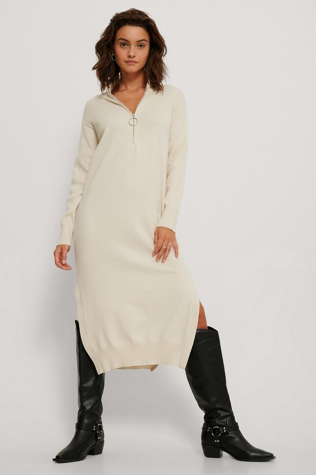 Side Slit Knit Dress White