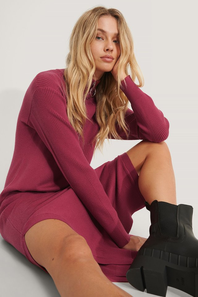 Side Slit Knit Dress Dark Red