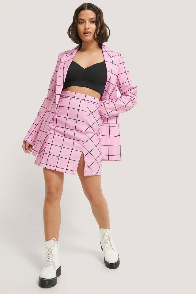 Kort Kjol Med Slits Pink Check