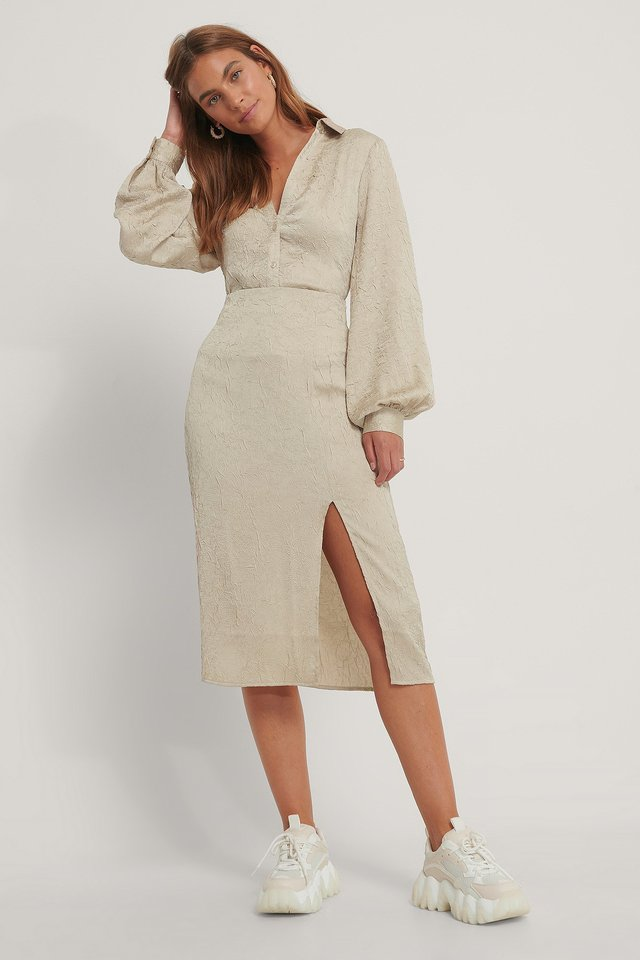 Side Slit Structured Skirt Light Sand